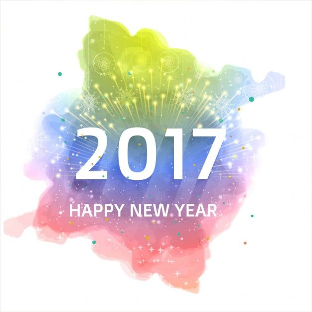 Watercolor 2017 background of fireworks  Free Vector