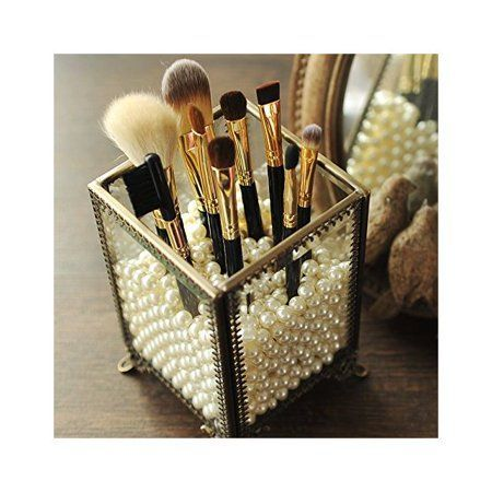 Photo of PuTwo Makeup Organizer Vintage Make up Brush Holder with Free White Pearls – Small