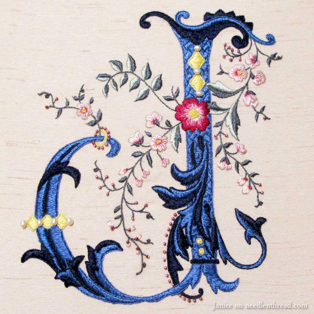 hand embroidered 'J' via the fabulous Mary Corbet