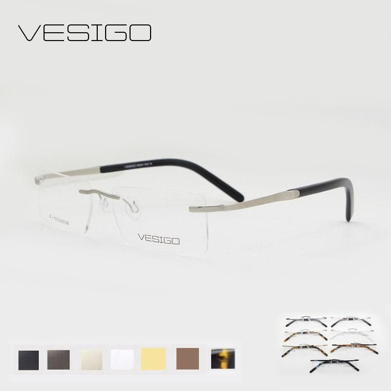 95df14cc95f Titanium Glasses Frame Men Rimless Eyeglasses high quality silhouette fold  optical myopia Frameless Prescription Glasses E1059