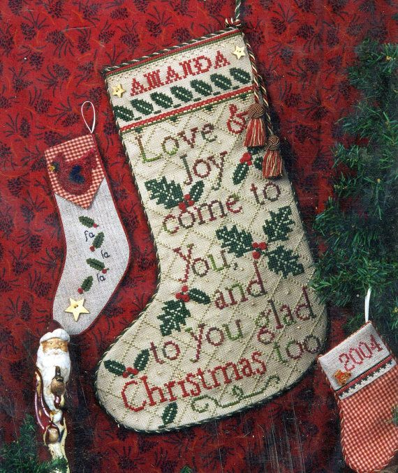 glad tidings stocking by erica michaels counted cross stitch - Michaels Christmas Stockings