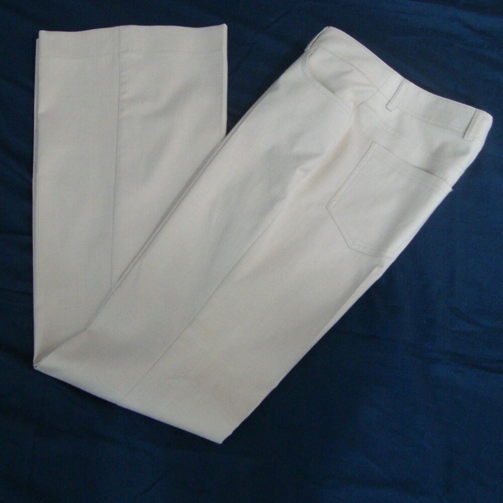 89345fe05dc4 AKRIS Pants Cotton Silk Trouser Pants Low Flare Leg Beige NWT Size 6 Small  $795 #