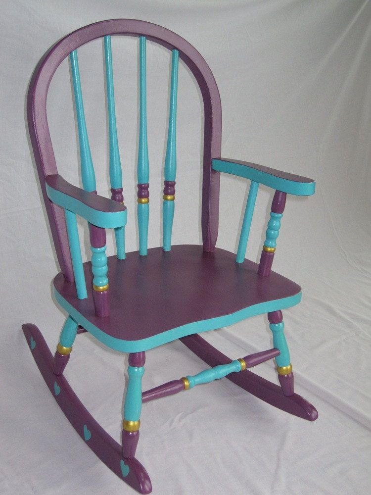 Purple Patio Chair Seat Cushions: Child's Purple & Turquoise Rocking Chair. $135.00, Via