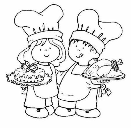 Niños chef | Dibujos para pintar | cocina infantil | Pinterest