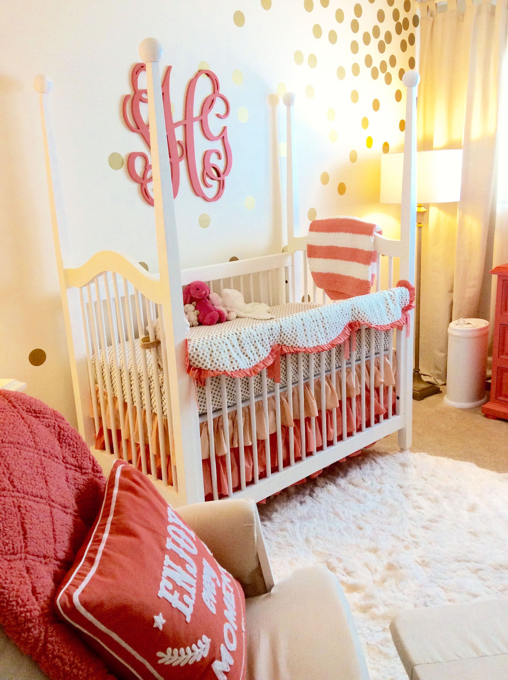 Coral and gold dot nursery!