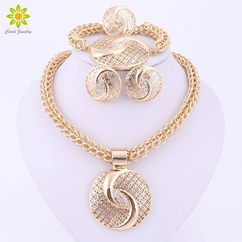 Latest luxury big dubai gold plated crystal necklace jewelry sets