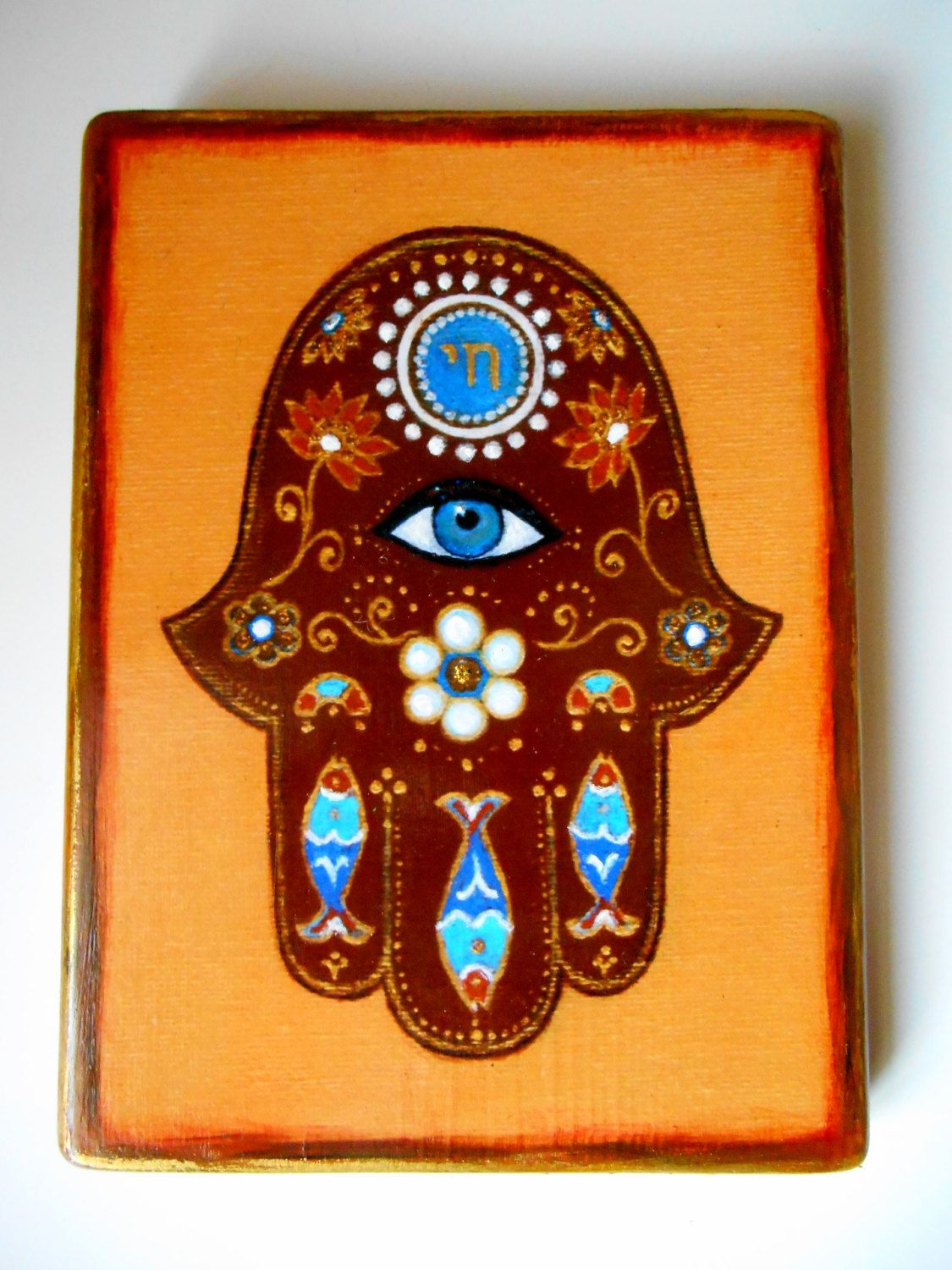 Handmade hamsa hand wall hanging reproduction decoupage on wood handmade hamsa hand wall hanging reproduction decoupage on wood home blessing spiritual judaic art evil amipublicfo Gallery