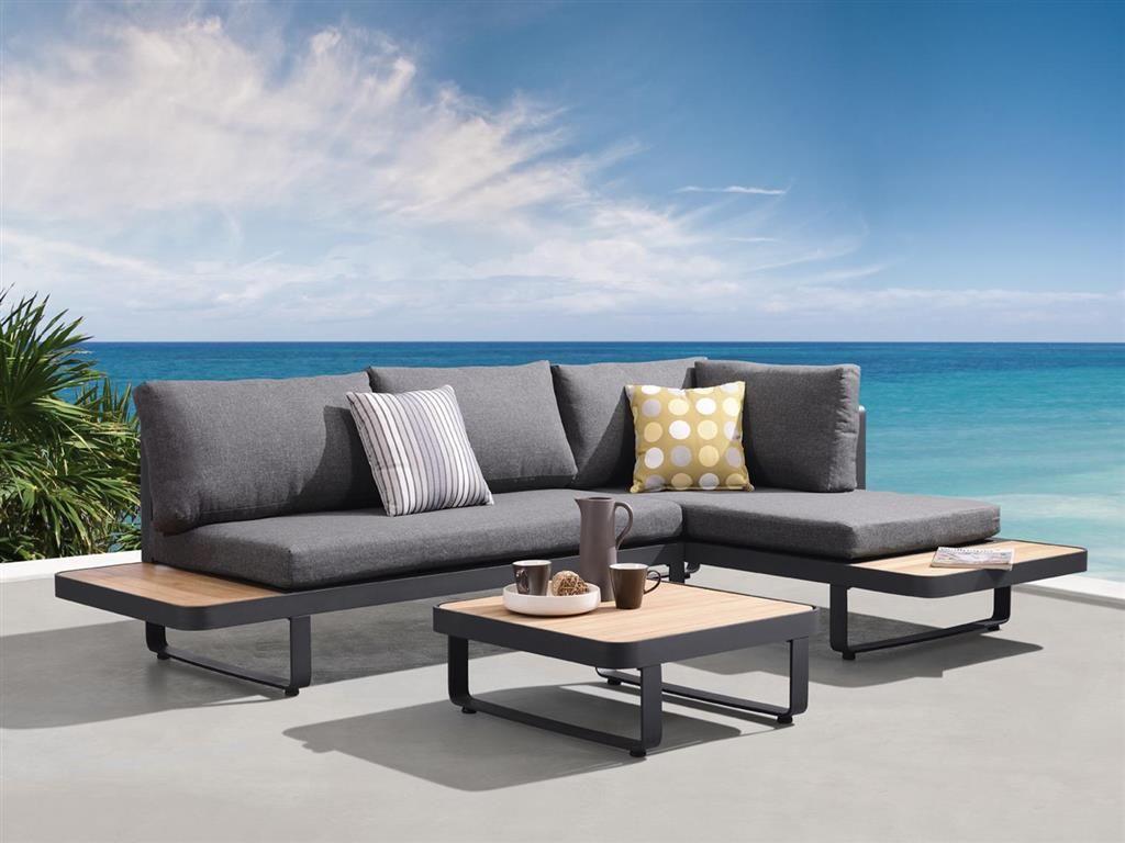 Carribean Loungeset Met Teak Grijs Outdoor Lounge Set Furniture Outdoor Sofa