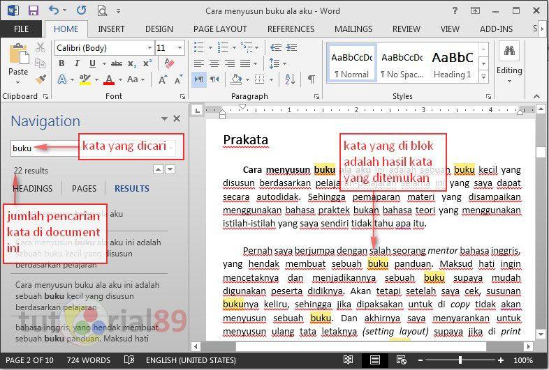 Cara Mudah Mencari Kata Di Ms Word Tutorial89 Buku Microsoft Cari