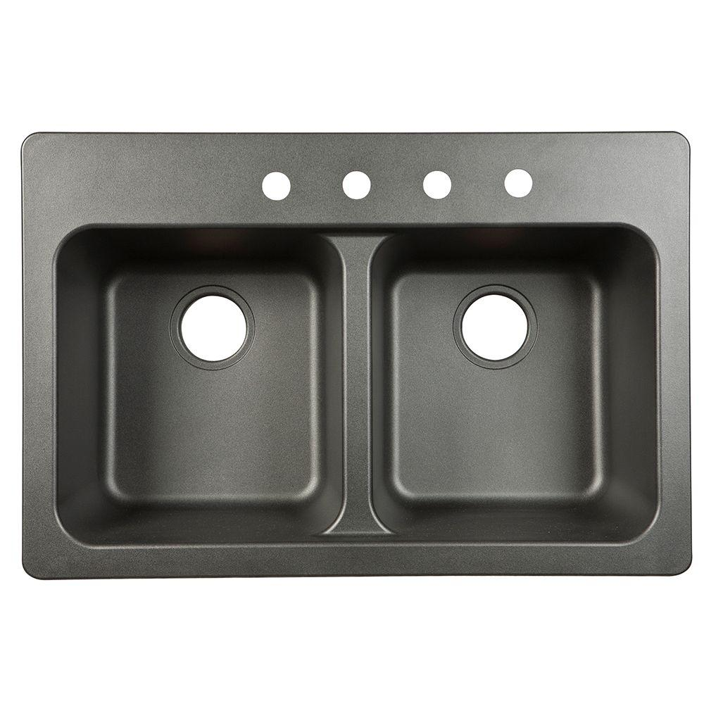 Kindred Dual Mount Granite Composite 33 In 4 Hole Double Bowl Kitchen Sink In Black Ftb904bx Double Bowl Kitchen Sink Sink Drop In Kitchen Sink