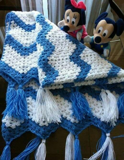 Manta de bebé tejida a Crochet punto zig zag | crochet | Pinterest ...