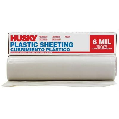 Husky 10 Ft X 100 Ft Clear 6 Mil Polyethylene Sheeting Cfhk0610c At The Home Depot Black Plastic Sheeting Plastic Liner