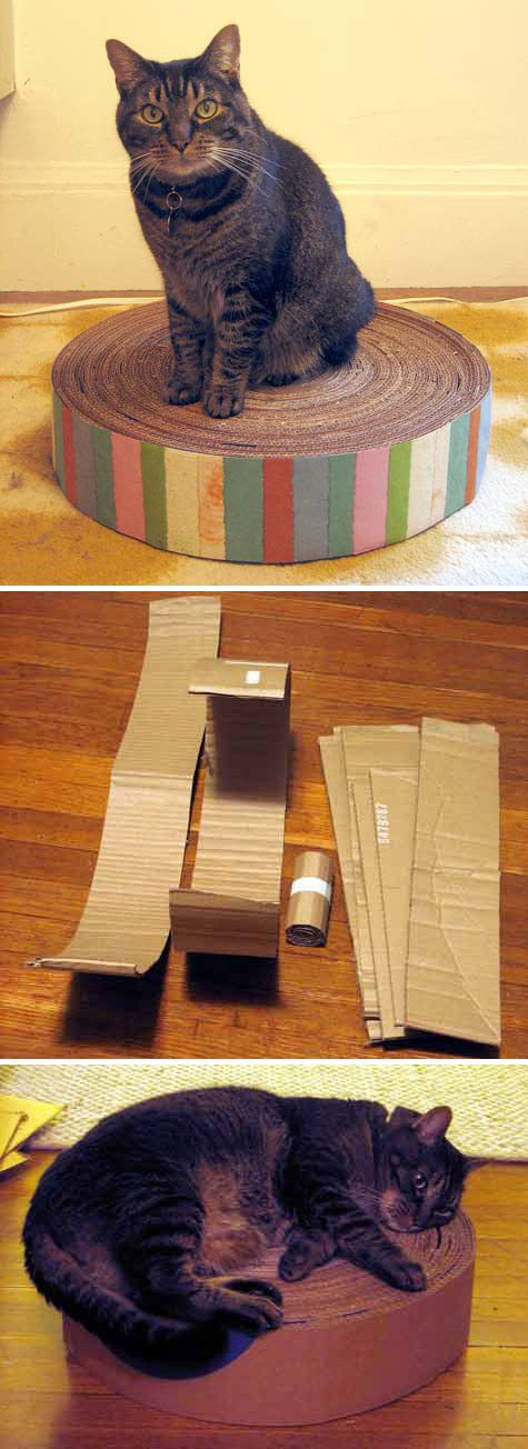 DIY Recycled Cardboard Kitty Pad -- hmm, dad will be moving soon and I know we had one cat that loved this type of thing, really awesome! (plus all those boxes at work!)