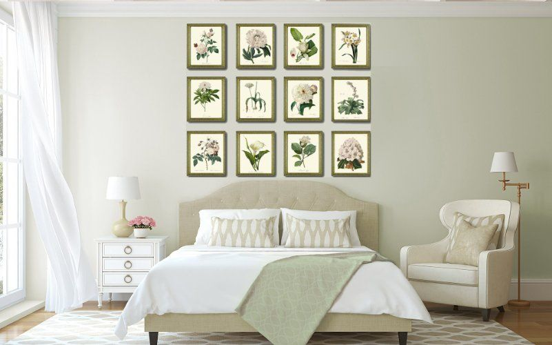 Amazon.com: Botanical Print Set of 12 Antique Beautiful Redoute Roses Pink Yellow White Butterfly Garden Nature Plant Flowers Home Room Decor Wall Art Unframed: Handmade