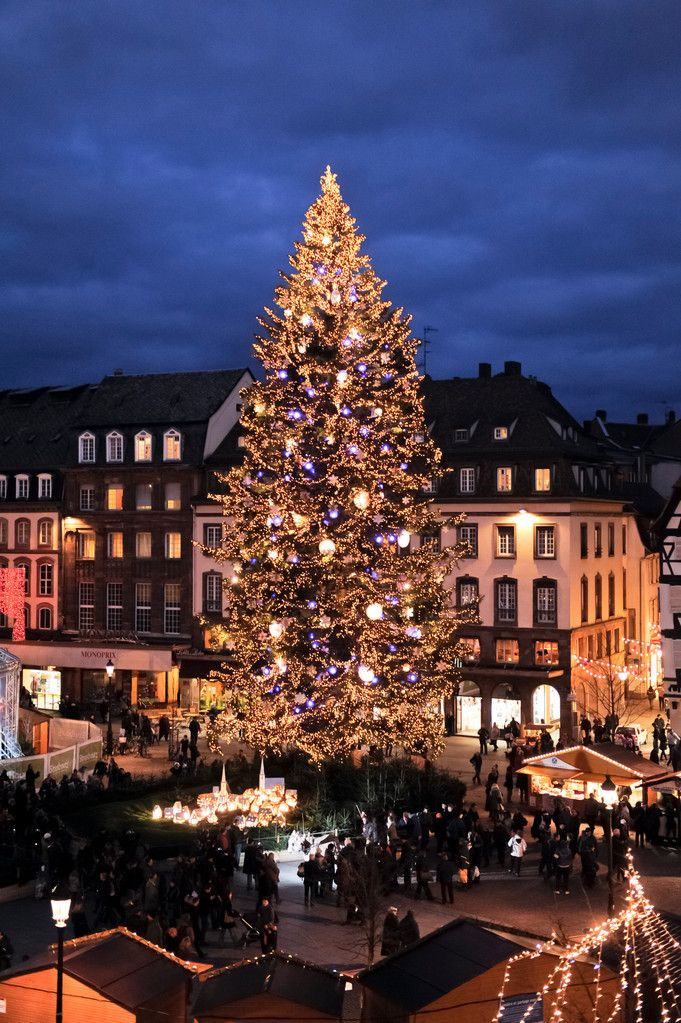Christmas Market view in Strasbourg, Alsace oldest and