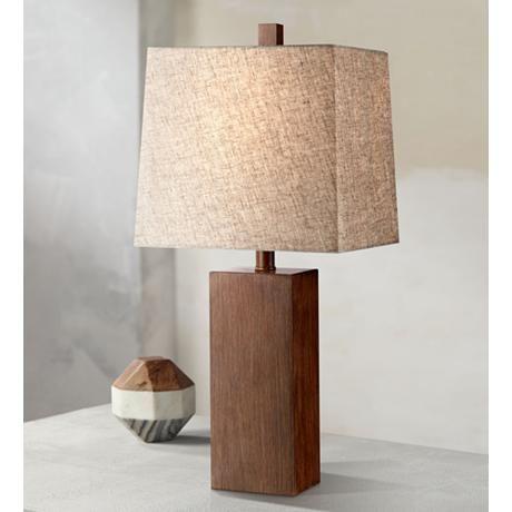 Darryl wood finish rectangular table lamp 2x734 lamps plus