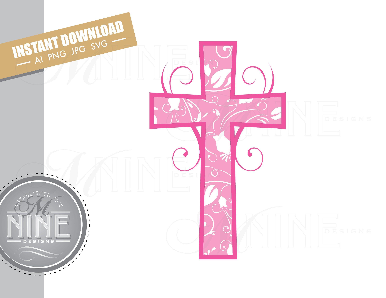Pink Cross Clip Art Downloads Vector Pink Cross Ai Png Jpg Svg Pdf Clipart Pink Cross Instant Digital Download M116 Clip Art Downloadable Art Art