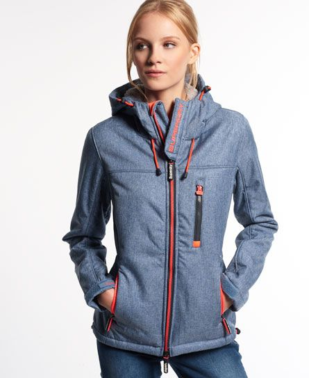 navy marl Superdry Hooded Winter Windtrekker Jacket