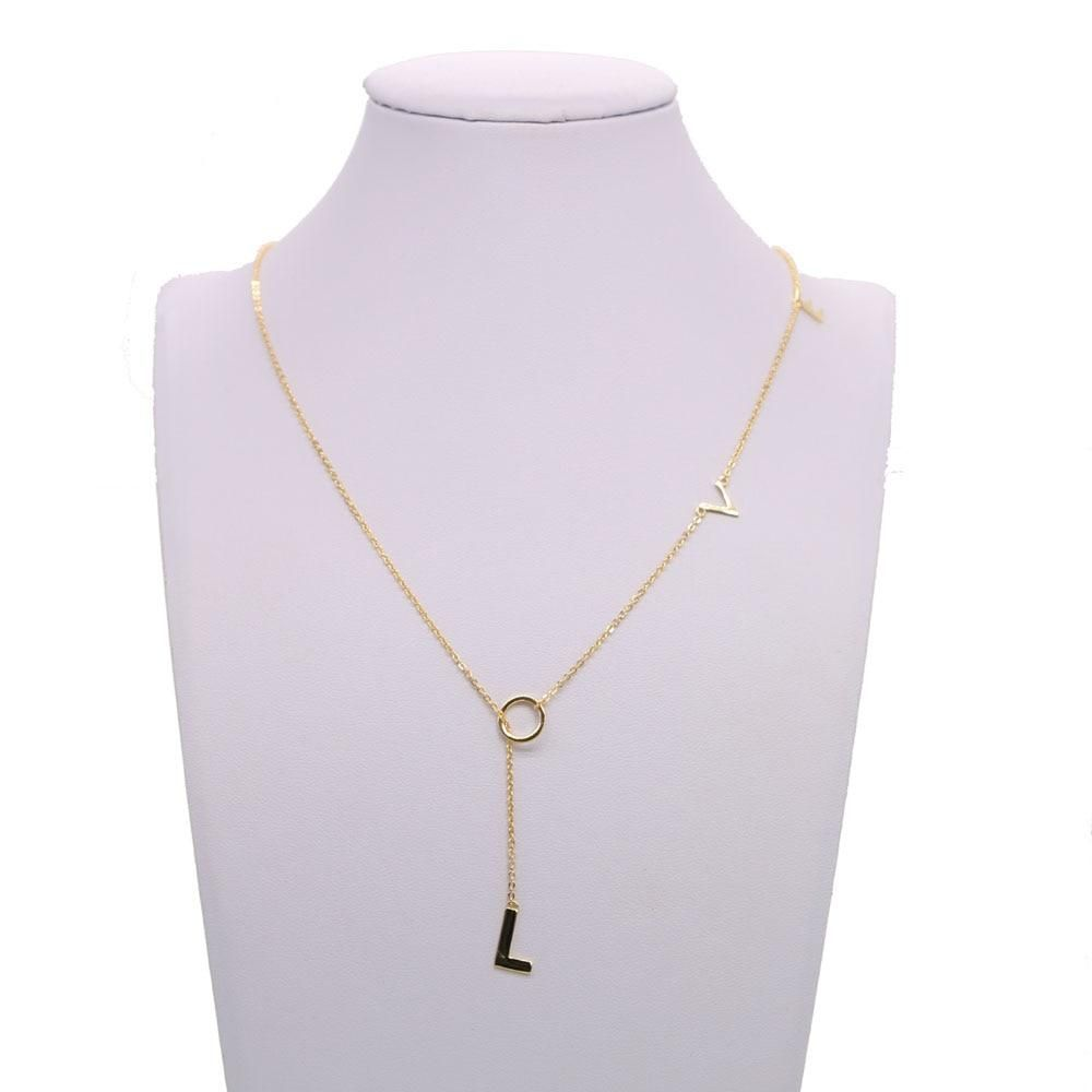 Top Quality Lariat Love Necklace Gold Color L O V E Letter Link Chain Dainty Minimal Girl Women Gift 925 Sterling Silver Jewelry Silver Jewelry Fashion 925 Sterling Silver Jewelry Silver Jewelry