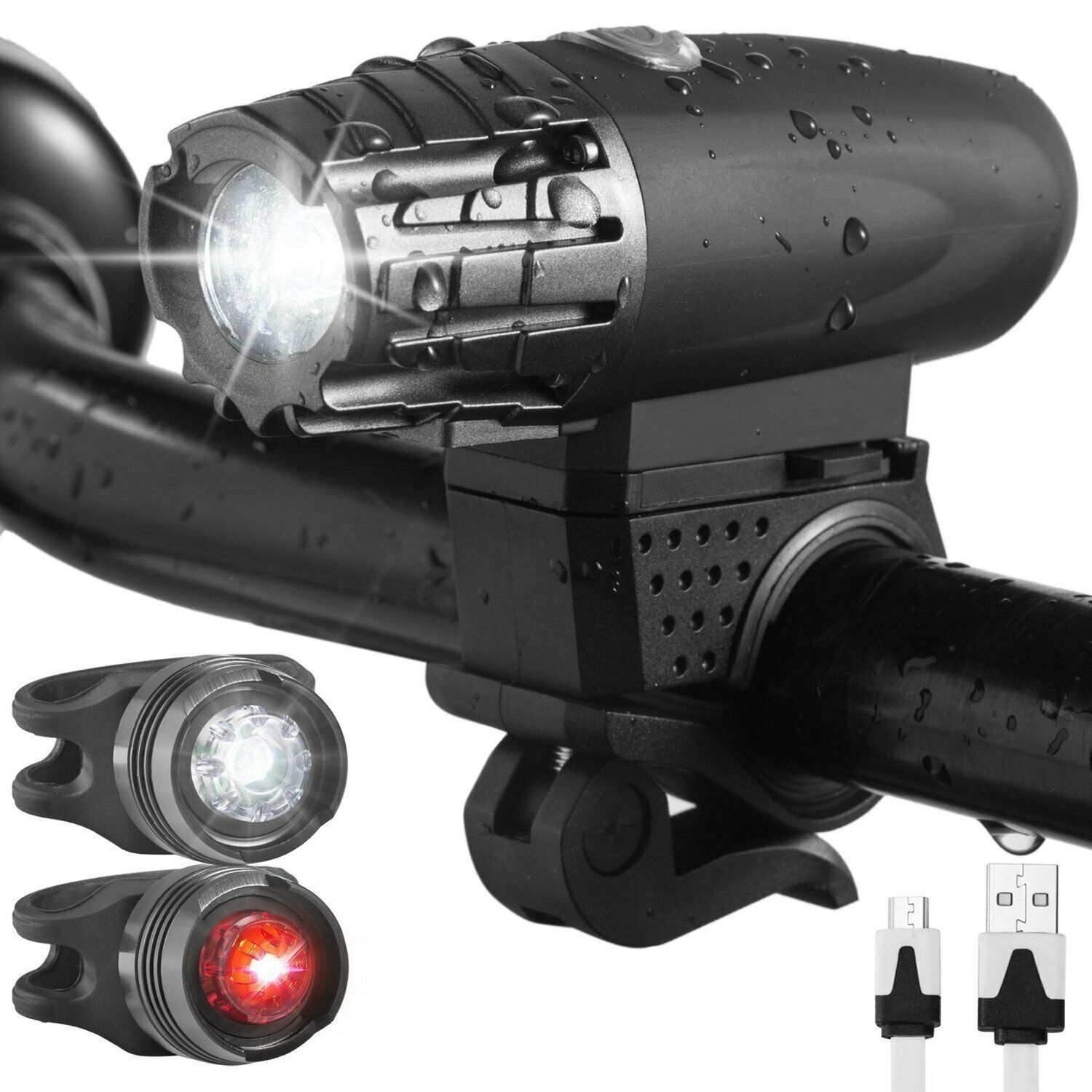 Usb Rechargeable Led Bicycle Bright Bike Front Headlight2 Rear Taillight Us Qe Bicycle Light Ideas Of Bicycle Light Bicyclelight Flashlights Bike Lights