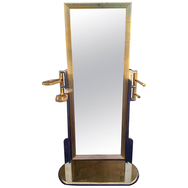 Skyscraper BRASS and CHROME Gentleman\'s VALET Floor Mirror ART DECO ...