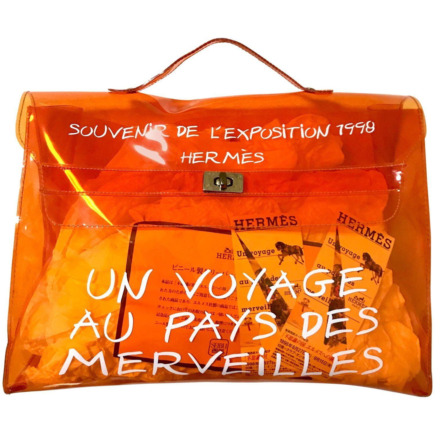 48beba80db93 Vintage Hermes a rare orange transparent vinyl Kelly bag