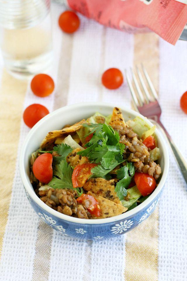 Vegan Lentil Taco Salad #tacosalad