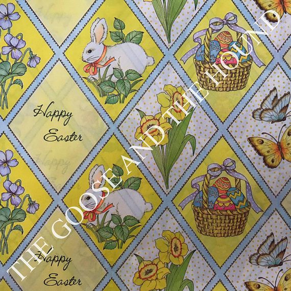 Vintage gift wrapping paper easter paper yellow easter collage vintage gift wrapping paper easter paper yellow easter collage eggs bunny flowers butterfly 1 unused full sheet easter gift wrap negle Image collections