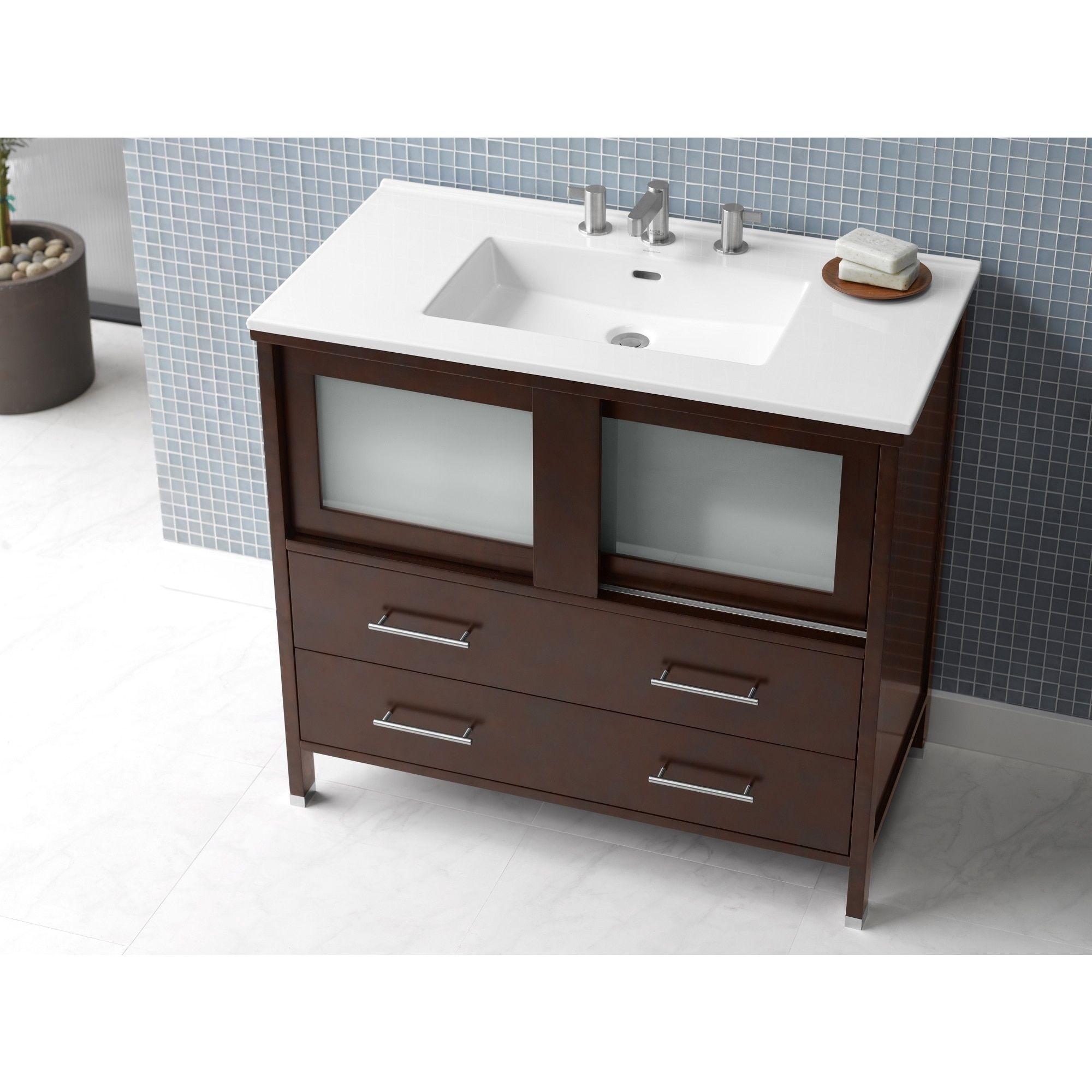 36 inch bathroom sink top - Ronbow Minerva 36 Inch Bathroom Vanity Set In Dark Cherry With Bathroom Sink Top In