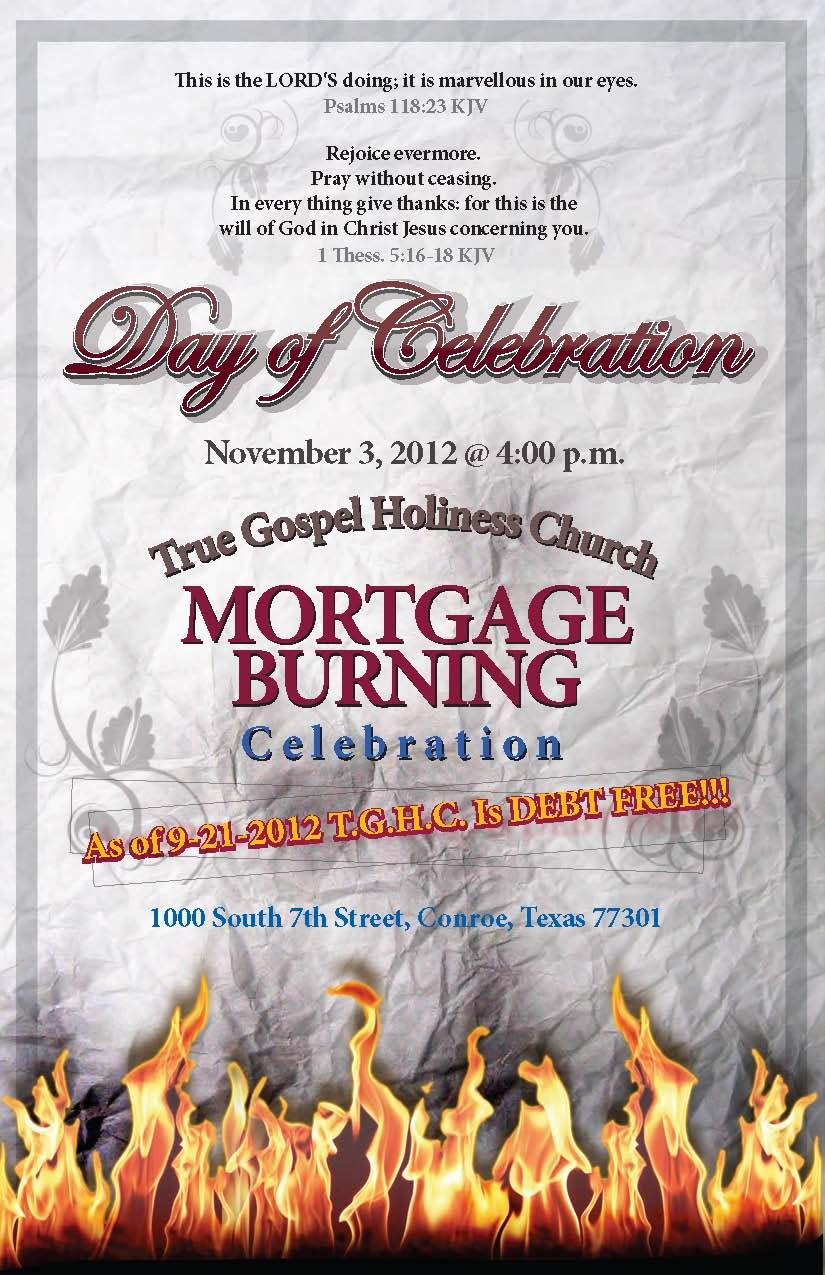 Church Mortgage Burning Event  Mortgage Payoff