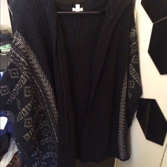 Cape/ sleeveless cardigan / kimono Thick black with cream design and hood sleeveless thick kimono (One size fits most) Urban Outfitters Sweaters Shrugs & Ponchos