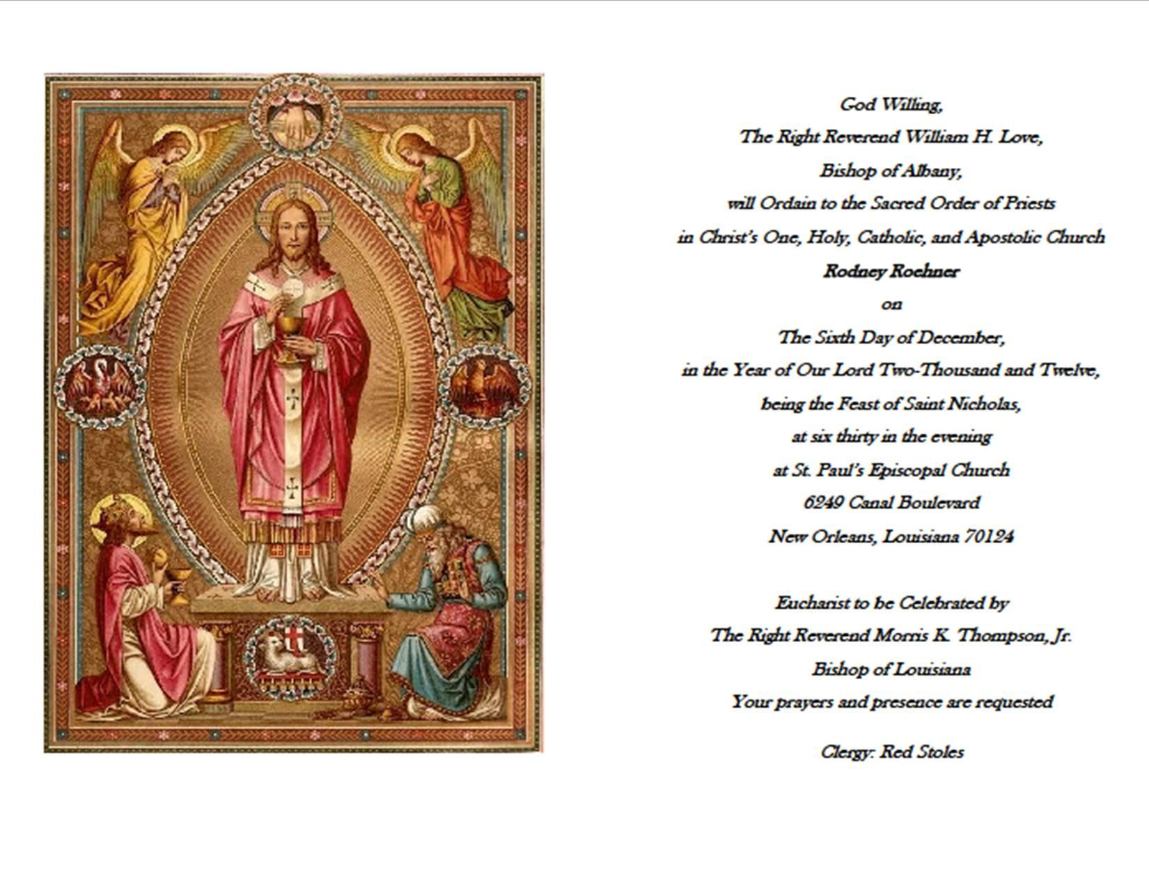 diaconate ordination Deacon Rodney Roehner Ordination Invitation