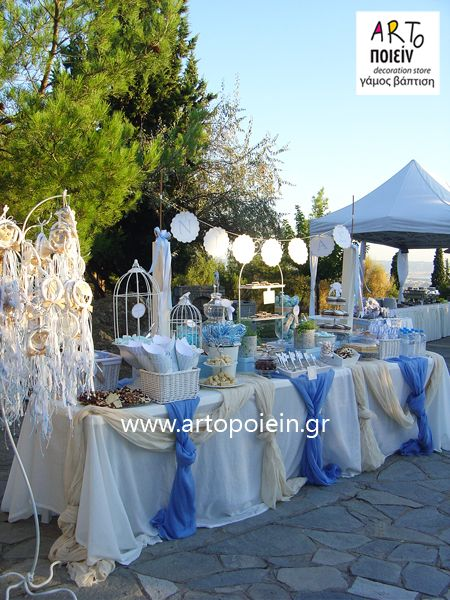 baby boy christening decoration (blue fabric on white table cloth) birdcage or hot air balloon theme?? & baby boy christening decoration (blue fabric on white table cloth ...