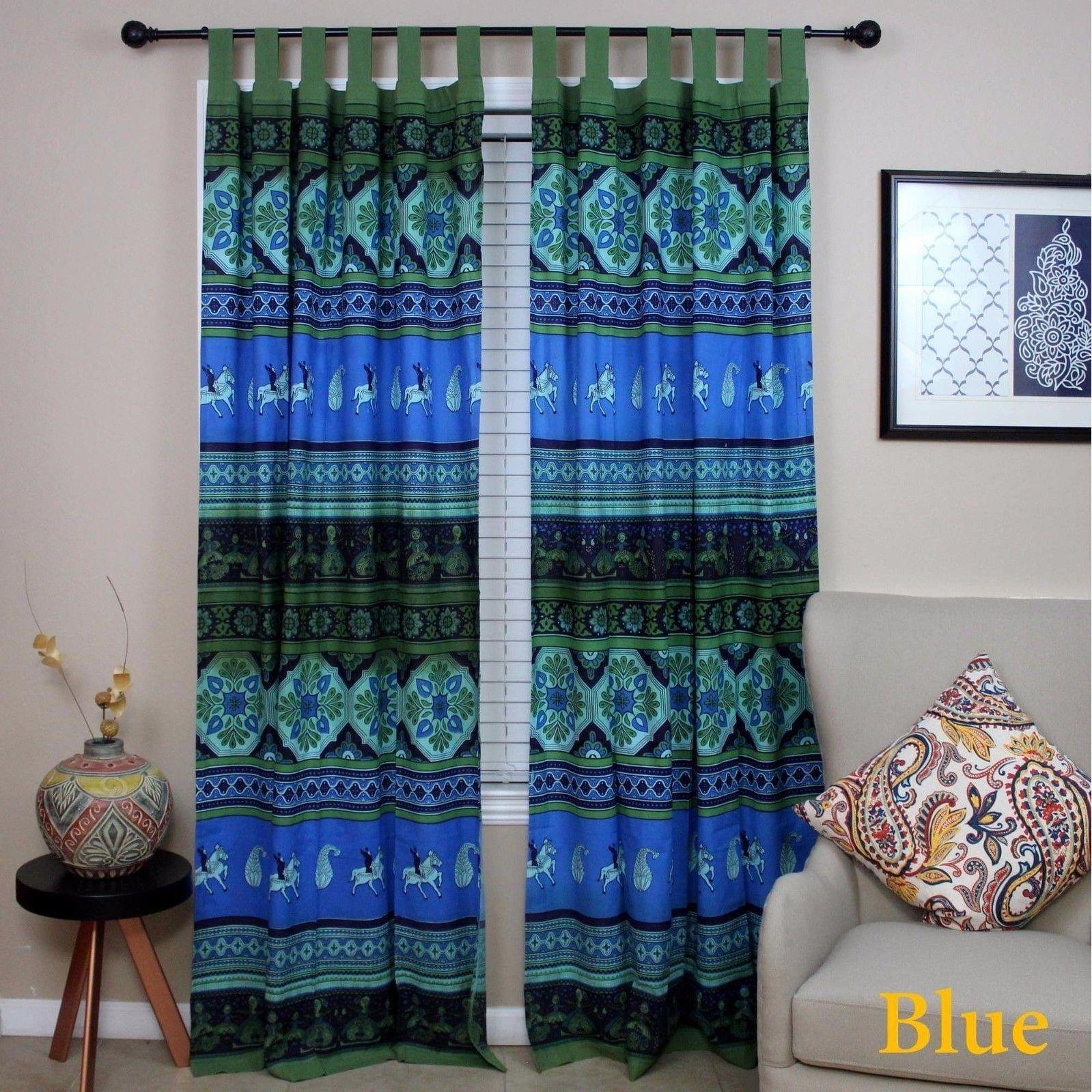 Handmade cotton kalamkari floral tie dye tab top curtain drape