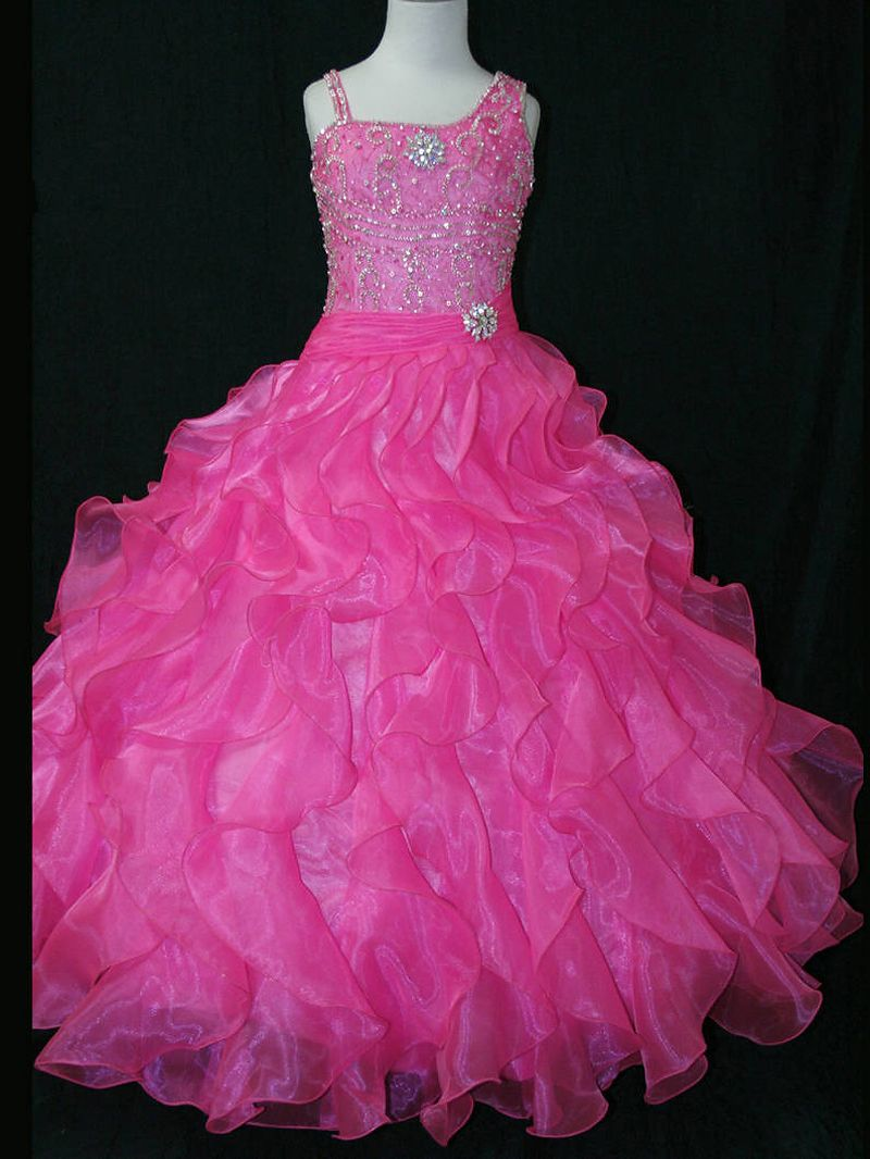 MZ0731 The Most Beautiful Ball Gown Hot Pink and Blue Organza ...