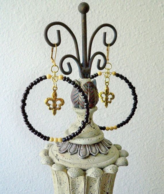 Black Seed Bead Hoop Earrings Gold Beads Fleur De Lis Charm New
