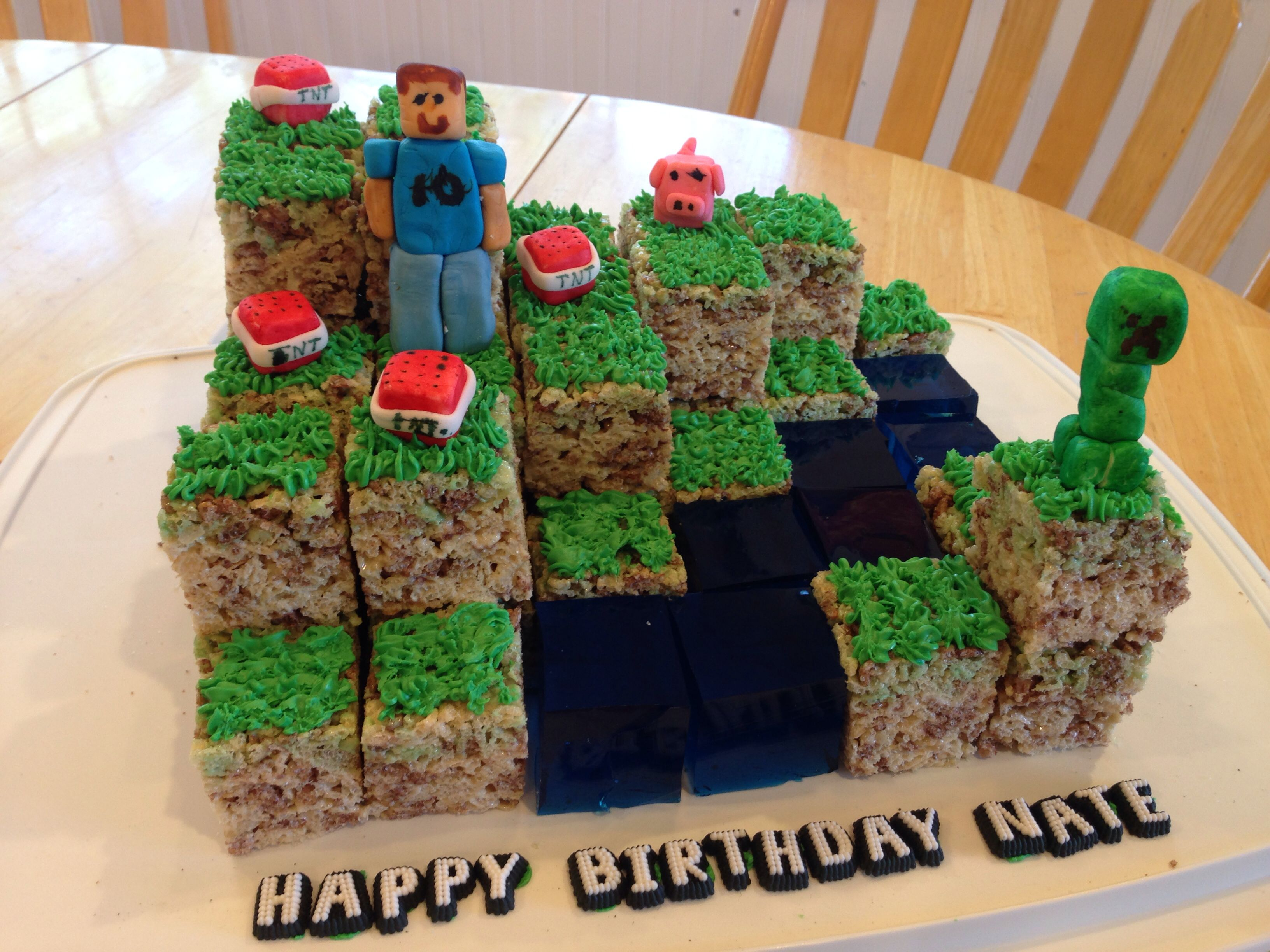 Minecraft Cake With Berry Jello For Water