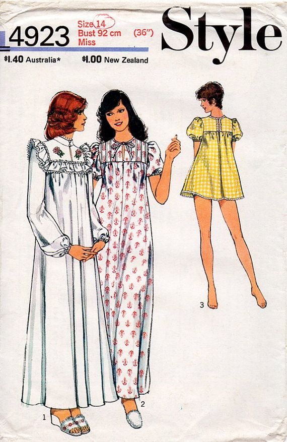 1970s Babydoll Nightdress and Panties Pattern Style 4923 Vintage ...