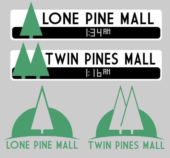 Twin Pine Malls  Back To Future Marty mcfly 80s TShirt Retro T-Shirt Logo BTTF