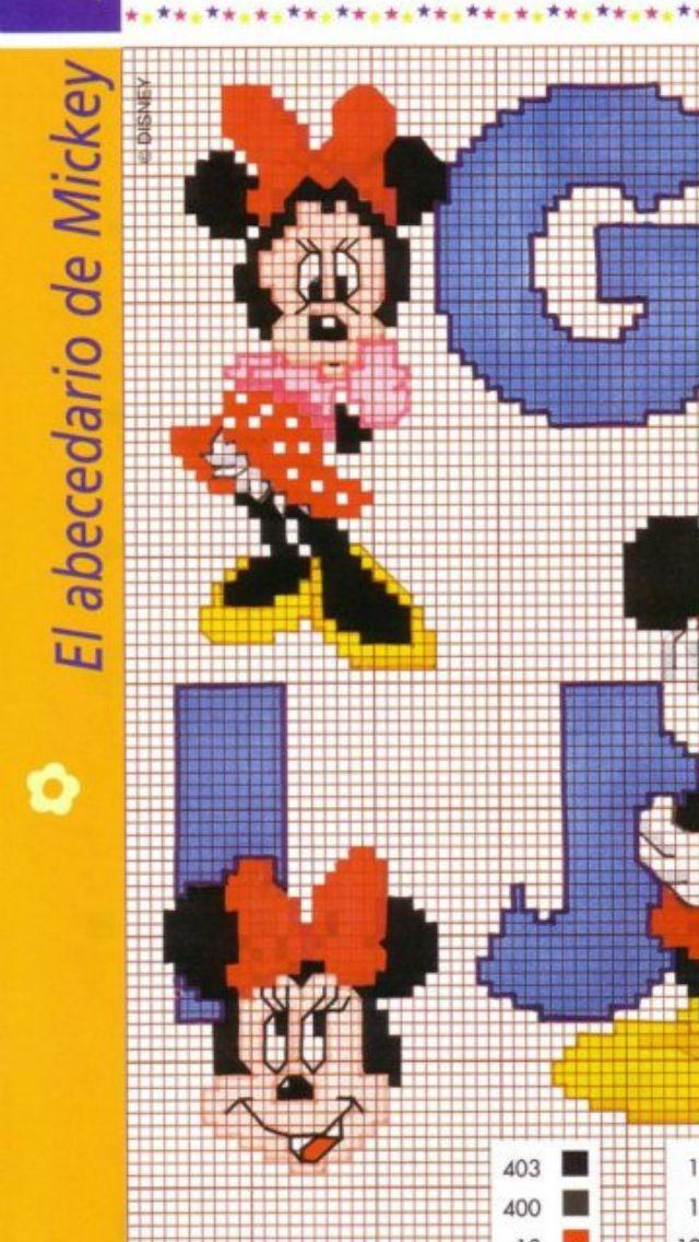 Minnie e alfabeto punto croce schema