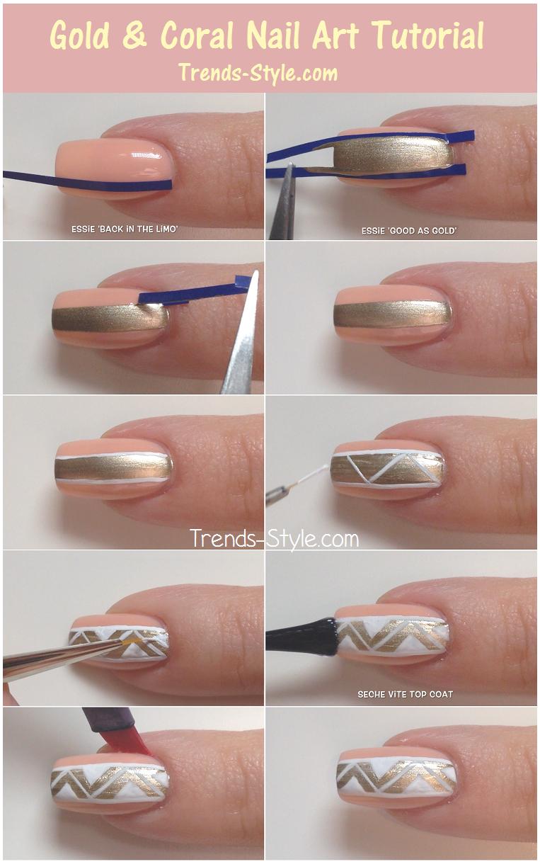 Gold coral nail art tutorial diy classy nail art design gold coral nail art tutorial diy classy nail art design elegant nails prinsesfo Gallery