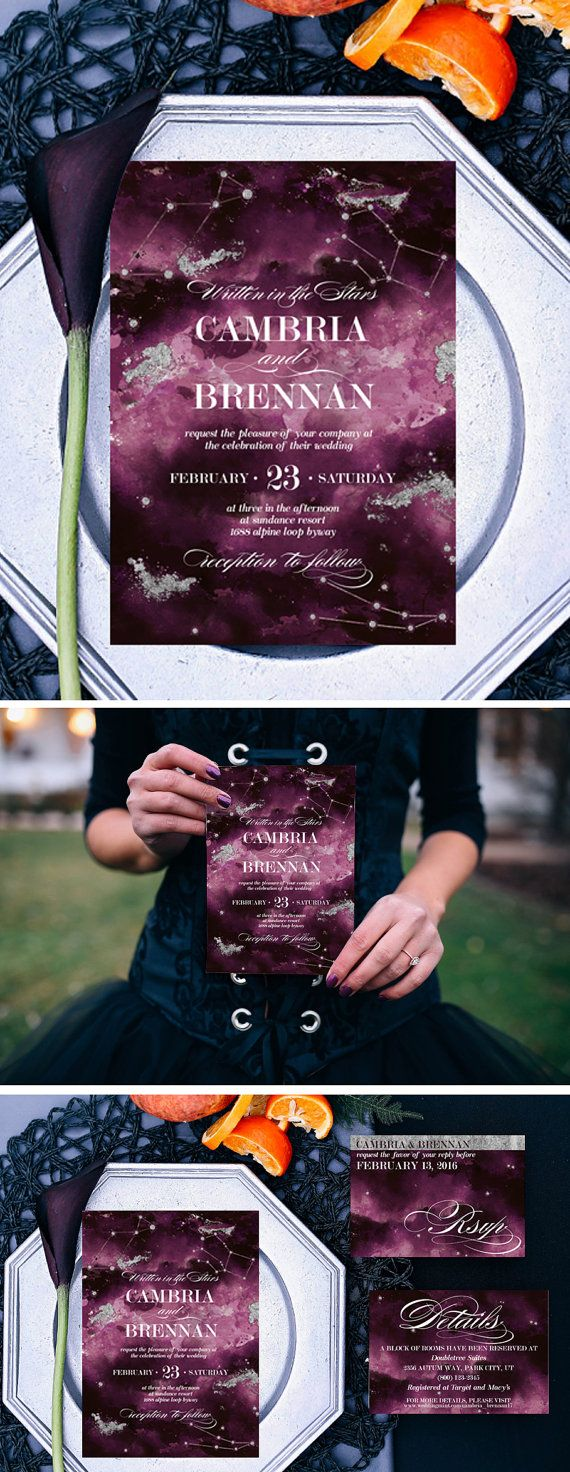 These Oxblood and Plum Printable Written in the Stars Wedding Invitations can be digitally downloaded so that your Wedding invitations are Edgy, elegant and the easiest thing to check off your wedding to-do list! ►►Thank you for stopping by! That makes you AWESOME! This listing is for the design file ONLY. Item does not include color changes, layout changes, font resizing, cropping of template or printing.  I will be happy to change out any wording you would like at all…
