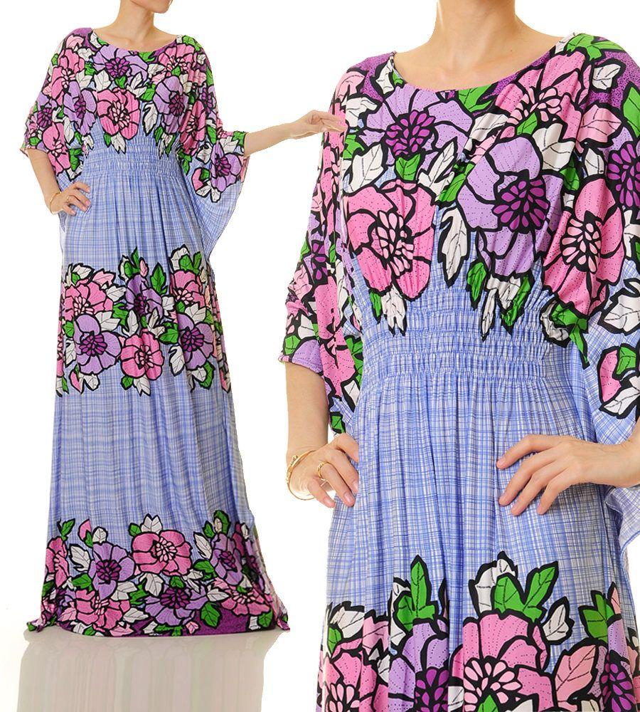 Floral Kaftan Maxi Dress   Dubai Kaftan Dress   Abaya Maxi Dress ...