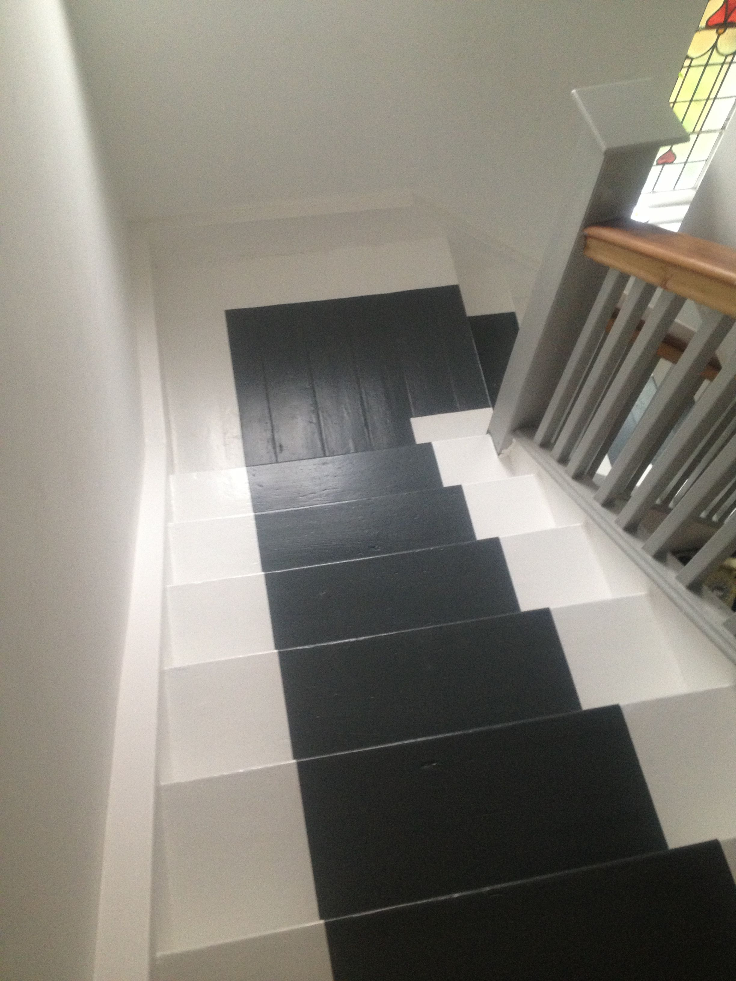 My stairs with painted grey runner in Farrow and Ball Downpipe  You can do it too in 2019  Painted staircases Hall flooring Painted stairs
