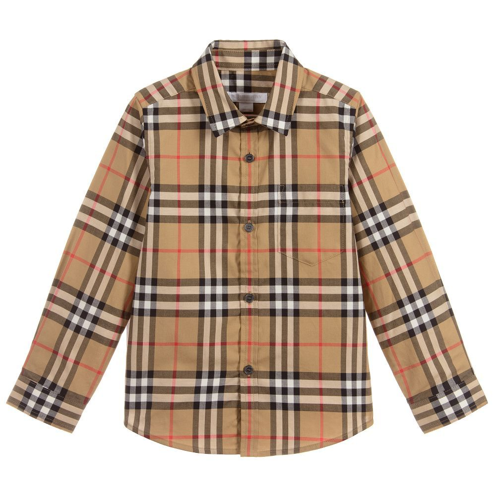 a1dc6ff1263f78 Boys FRED Cotton Check Shirt for Boy by Burberry. Discover the latest  designer Tops for kids online