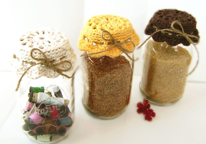 Crocheted Doily Jar Lid Covers Market Again Pinterest Crochet