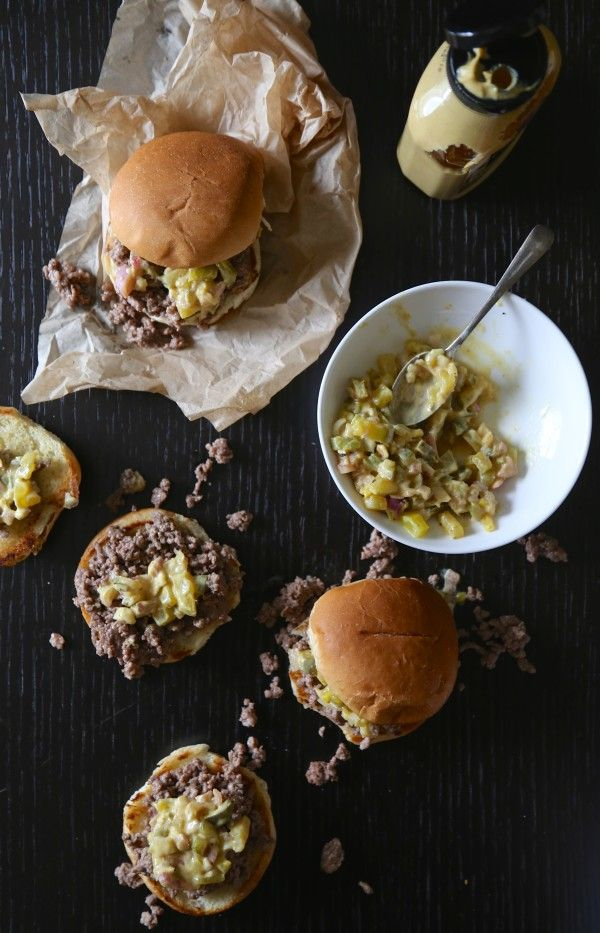 One of my favorite childhood burgers gets a bite-sized makeover. Try these Crumbly Burger Sliders w/ Dijon Shallot Relish for dinner!