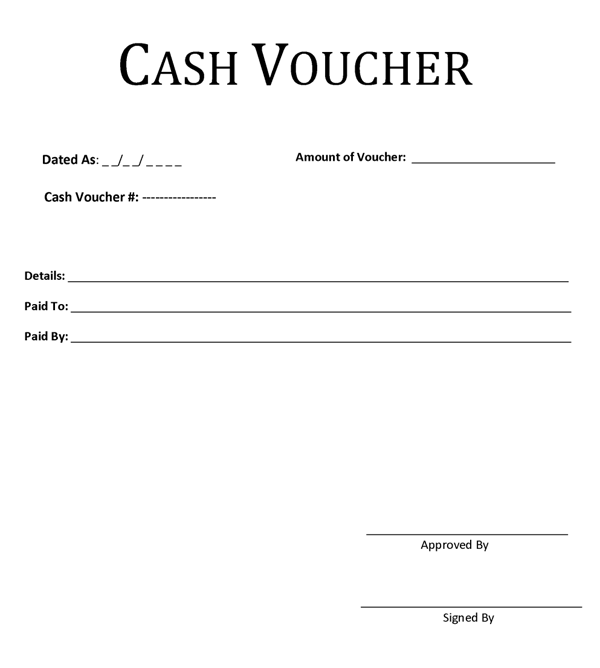 cash voucher template