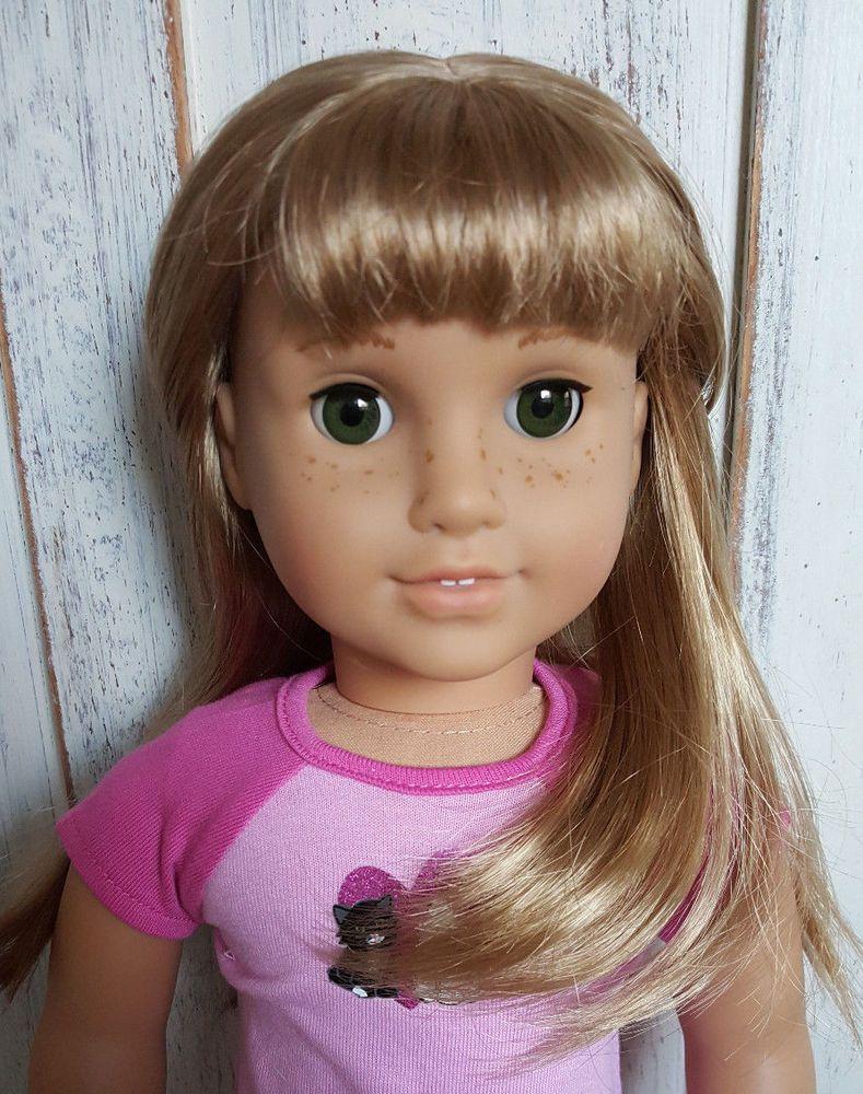 Custom american girl doll nellie blonde hair new green eyes