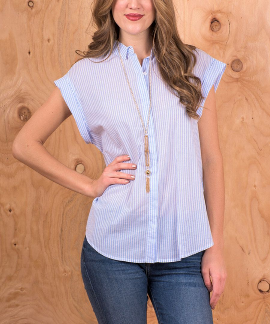 Look at this Miss Lily Blue & White Pinstripe Button-Up Top on #zulily today!
